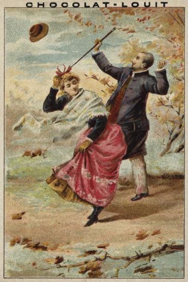 A Walk on a Windy Day--Giclee Print