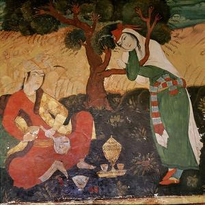 A Wall Painting in the Hall of One Hundred Pillars in Isfahan Depicting a Man and a Girl Taking…