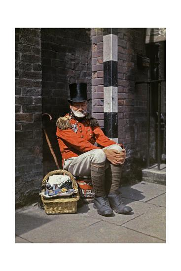 A War Veteran Sells Matches on the Street-Clifton R^ Adams-Photographic Print