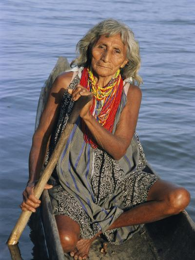 A Warao Indian in a Canoe-Ed George-Photographic Print