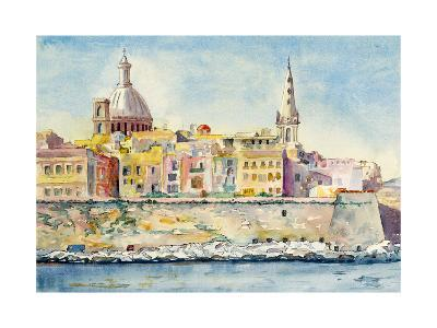 A Watercolor Painting of Valletta, Malta-clivewa-Art Print