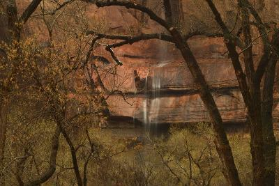 A Waterfall Cascades over Cliffs into the Virgin River in Zion National Park-Raul Touzon-Photographic Print