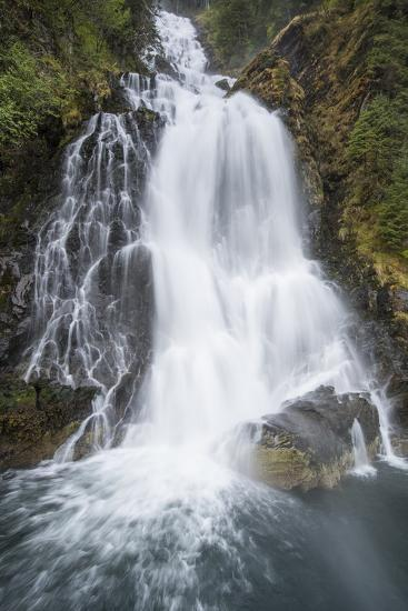 A Waterfall Cascading into the Ocean at Red Bluff Bay, Baranoff Island, Inside Passage, Alaska-Michael Melford-Photographic Print