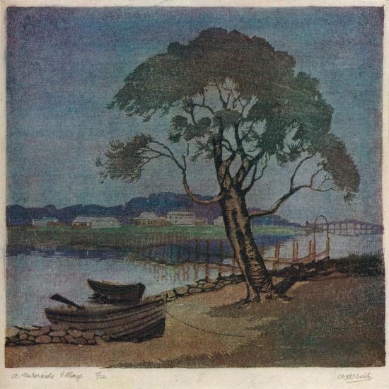 'A Waterside Village', c1921-Archibald Bertram Webb-Giclee Print