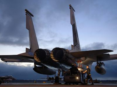 A Weapons Loading Team Attach An AIM-7M Sparrow Missile On An F-15 Eagle-Stocktrek Images-Photographic Print