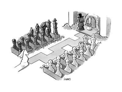 A wedding in which the characters are all chess pieces, with the bishop ma... - New Yorker Cartoon--Premium Giclee Print
