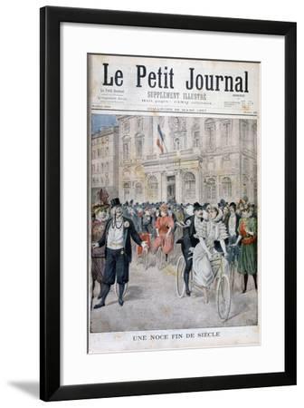 A Wedding on a Bicycle, France, 1897-Henri Meyer-Framed Giclee Print