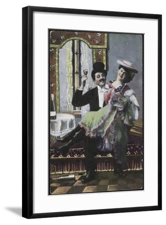A Well-Dressed Couple Pictured Laughing--Framed Giclee Print