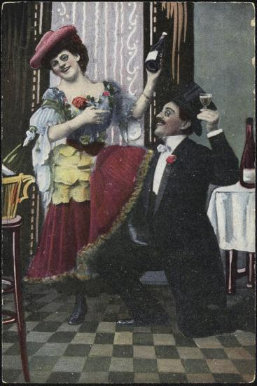 A Well-Dressed Couple Pictured Laughing--Giclee Print