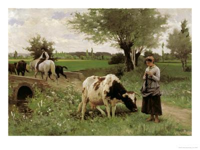 A Well-Guarded Cow-Edouard Debat-Ponsan-Giclee Print