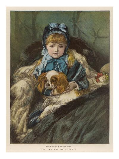 A Well-Wrapped Up Little Girl in a Carriage Holds Her Charley in Her Lap--Giclee Print
