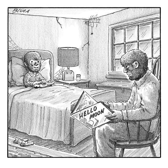 "A werewolf father is reading his werewolf son ""Hello Moon""  - New Yorker Cartoon-Harry Bliss-Premium Giclee Print"