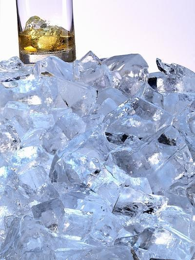 A Whiskey Glass on a Mountain of Ice Cubes-Michael Meisen-Photographic Print