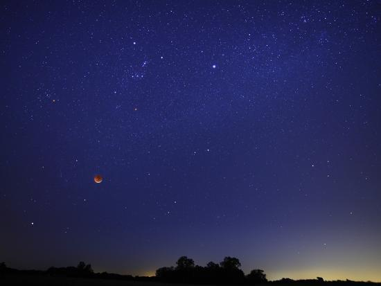 A Wide Field Composite Showing the Moon Against the Stars-Stocktrek Images-Photographic Print