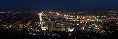 A Wide View Of Salt Lake City At Night With The Capital And Mormon Cathedral In The Foreground-Greg Winston-Photographic Print