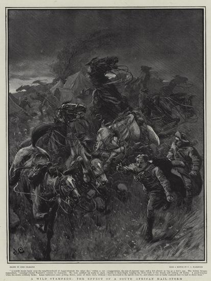 A Wild Stampede, the Effect of a South African Hail-Storm-John Charlton-Giclee Print