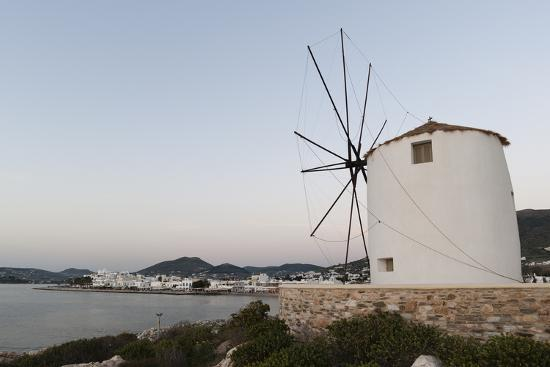 A Windmill on the Coast at Twilight, in Parikia-Sergio Pitamitz-Photographic Print
