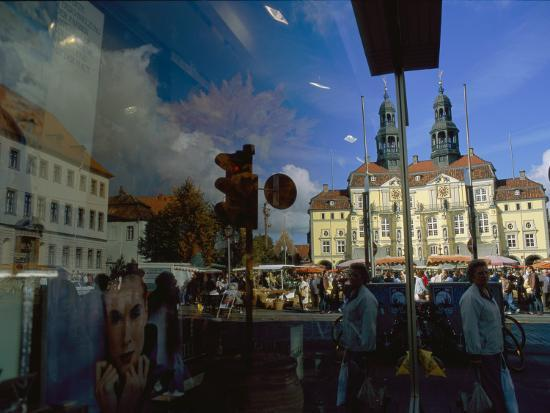 A Window Reflection of Luneburg's Town Hall-Sisse Brimberg-Photographic Print