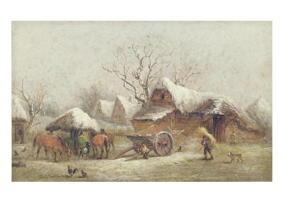 A Winter Farmyard Scene-Thomas Smythe-Giclee Print
