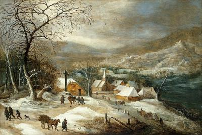 A Winter Landscape, with Figures on a Road by a Village-Joos or Josse de, The Younger Momper-Giclee Print