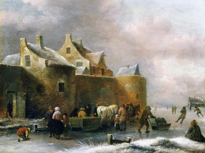 A Winter Landscape with Numerous Figures on a Frozen River Outside the Town Walls-Claes Molenaer-Giclee Print
