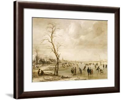 A Winter Landscape with Townsfolk Skating and Playing Kolf on a Frozen River, a Town Beyond-Aert van der Neer-Framed Giclee Print