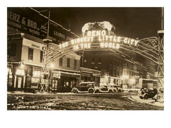 A Winter Night in Reno, Nevada--Art Print