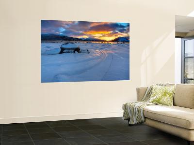 A Winter Sunset over Tjeldsundet at Evenskjer, Troms County, Norway-Stocktrek Images-Wall Mural