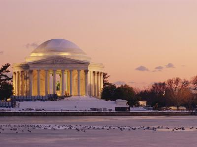 A Winter View of the Jefferson Memorial and the Tidal Basin at Twilight-Richard Nowitz-Photographic Print