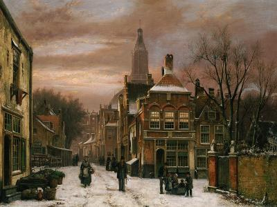 A Wintery Scene: a Dutch Street with Numerous Figures-Willem Koekkoek-Giclee Print