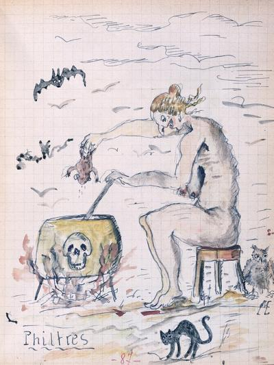 A Witch Preparing a Philtre, from a Manuscript by a Pharmacology Student, C.1920--Giclee Print
