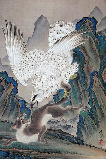 A Wolf Attacked by White Eagle-Kyosai Kawanabe-Giclee Print