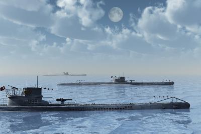 A Wolfpack of German U-Boat Submarines--Art Print