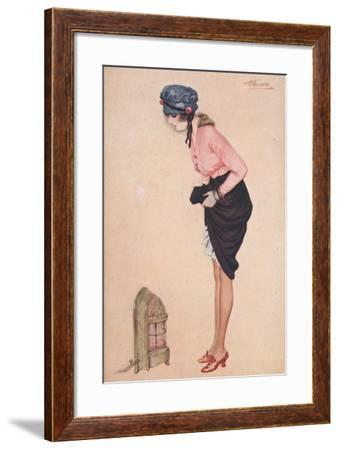 A Womam Lifting Her Skirt to Warm Her Legs by a Small Heater--Framed Giclee Print