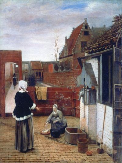 A Woman and a Maid in a Courtyard, C1660-1661-Pieter de Hooch-Giclee Print