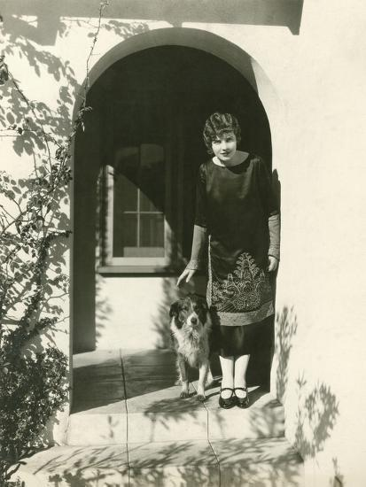 A Woman and Her Dog--Photo
