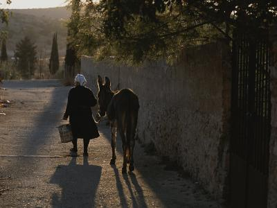 A Woman and Her Donkey Walk Down a Street in Pyrgi, Greece--Photographic Print