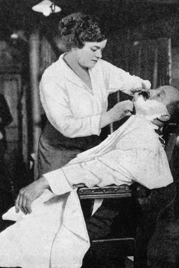 A Woman Barber, 1917--Giclee Print