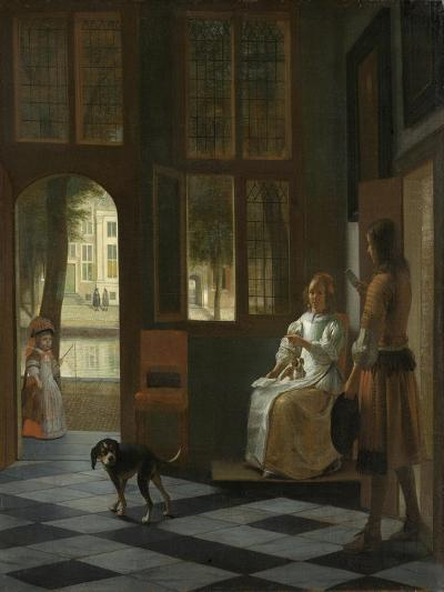 A Woman Directing a Young Man with a Letter, 1670-Pieter de Hooch-Giclee Print