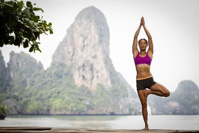 A Woman Doing Tree Pose Or Vrksasana-Cory Richards-Photographic Print