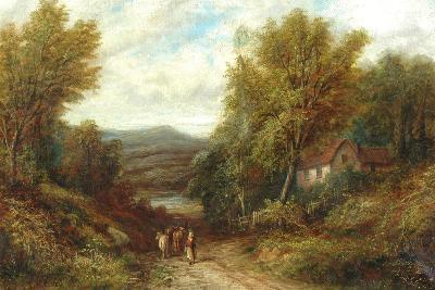 A Woman Driving Cattle Down a Lane--Giclee Print