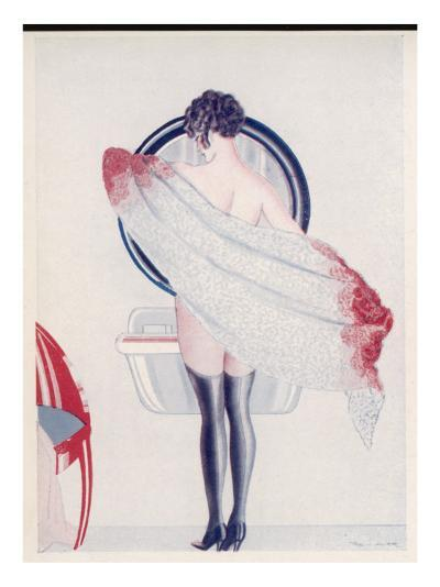 A Woman Drying Herself in Front of the Bathroom Mirror--Giclee Print