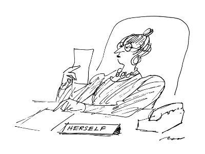A woman executive sits at her desk reading a letter; on her desk is a sign? - New Yorker Cartoon-Al Ross-Premium Giclee Print