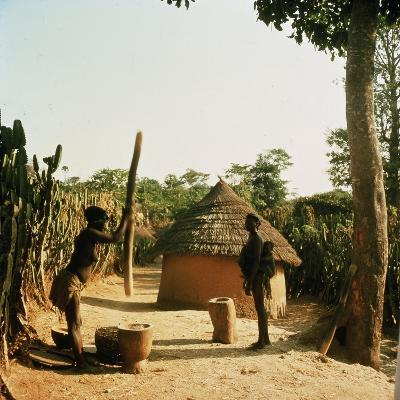 A Woman Grinding Millet with a Pestle and Mortar in a Miango Village Near Jos--Giclee Print
