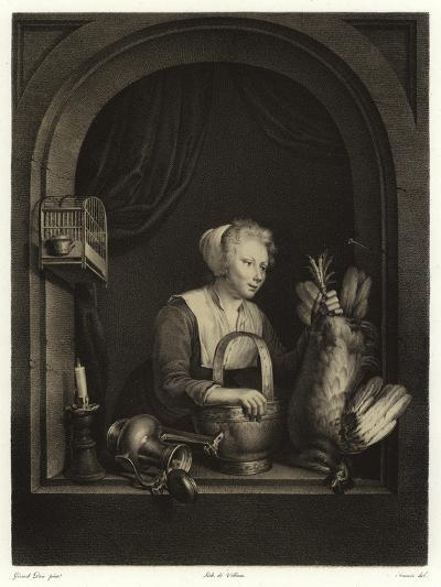 A Woman Hanging Up a Fowl-Gerrit or Gerard Dou-Giclee Print