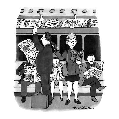 A woman holds a man's ponytail riding the subway as though it were one of ? - New Yorker Cartoon-J.B. Handelsman-Premium Giclee Print