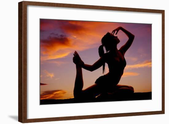 A Woman in a Dance or Yoga Pose in the Sunset-Alan Poulson Photography-Framed Photographic Print