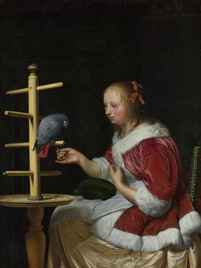 A Woman in a Red Jacket Feeding a Parrot, Ca 1663-Frans van Mieris the Elder-Giclee Print