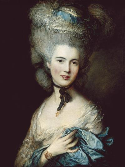 A Woman in Blue (Portrait of the Duchess of Beaufort)-Thomas Gainsborough-Art Print