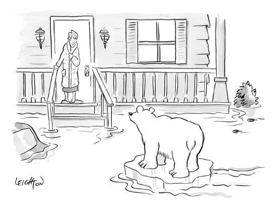 A Woman in her bathrobe steps out on her porch to see a flood surrounding ? - New Yorker Cartoon-Robert Leighton-Premium Giclee Print